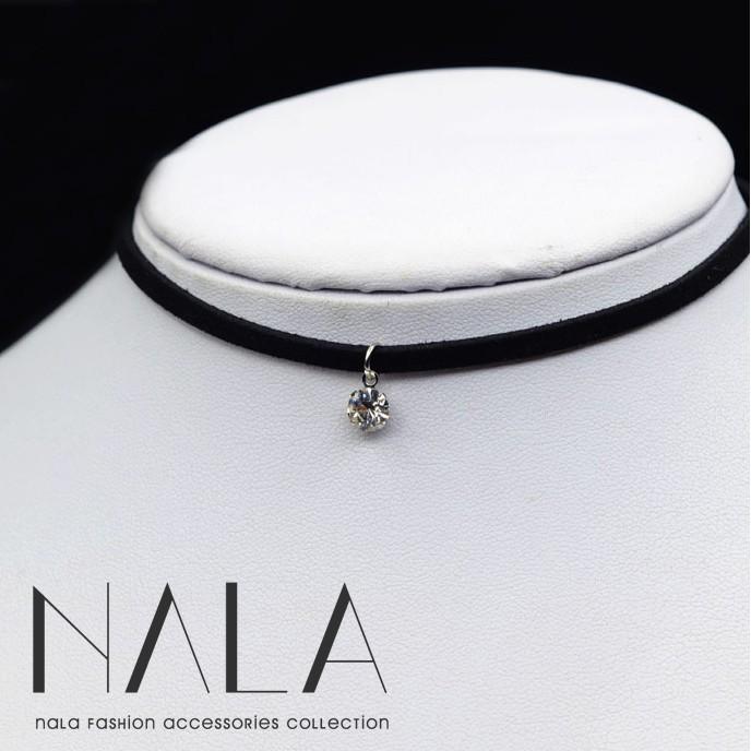 NALA 娜拉~韓國精緻絨質麂皮皮革太陽的後裔少女時代金泰妍水鑽吊飾項鍊 原宿項圈簡約小鑽