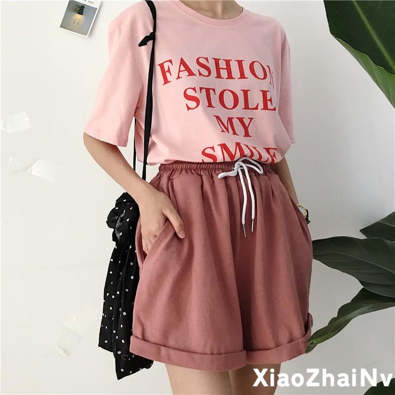 韓妞 寬松字母印花短袖T 恤上衣純色抽繩松緊腰 短褲兩件套套裝悠閒裝(分開拍)