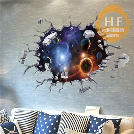 牆貼3D 立體夢幻星空星球天花板屋頂裝飾品客廳臥室 墻貼紙房頂貼畫