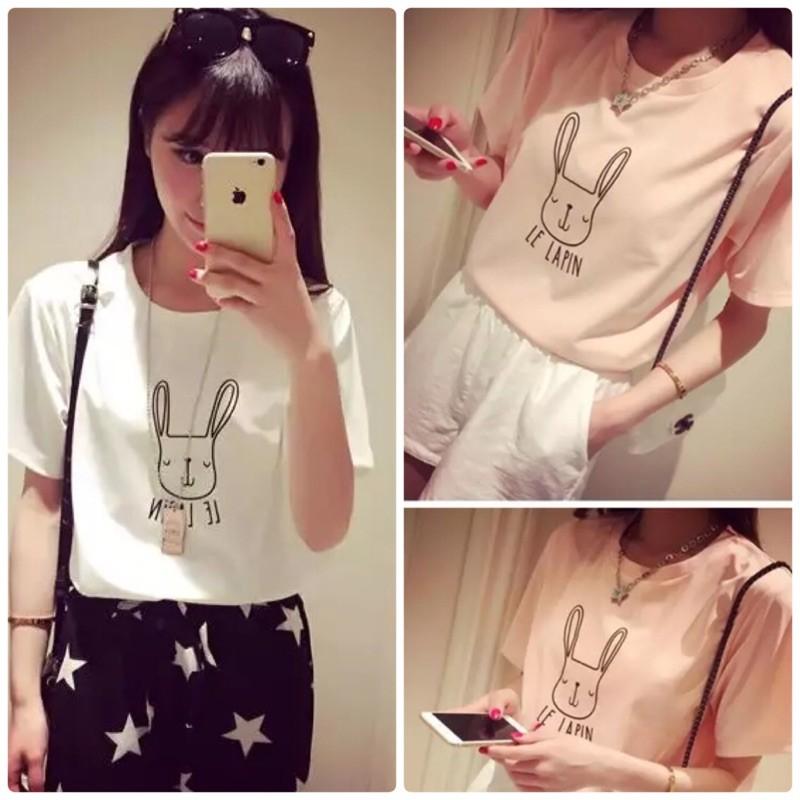 可愛兔子T 恤~可愛兔子卡通上衣T 恤卡通T 恤兔子短袖T 恤 牛仔褲吊帶褲短褲熱褲裙子