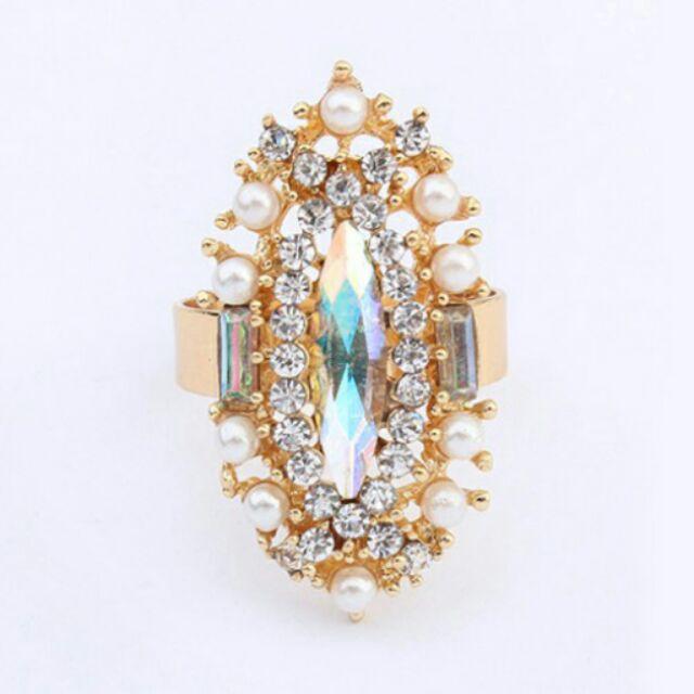 ╭~蕾兒0509 ~╮FD001 韓國璀璨宮廷風氣質閃鑽雕花寶石珍珠開口可調式戒指指環