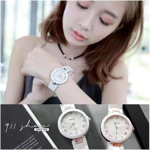 Maroon .港牌KEZZI ~簡約羅馬數字秒針圈陶瓷錶鏈帶手錶~ta551 ~~911