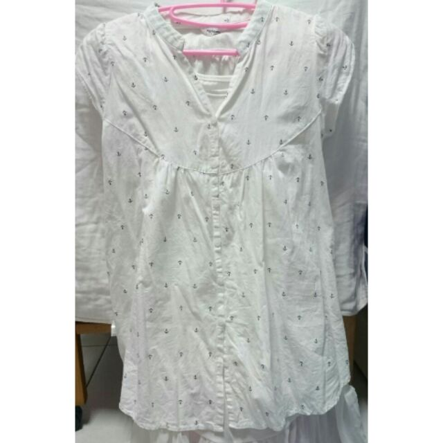 9 成新韓國製白色船錨長版上衣哺乳衣娃娃裝孕婦裝
