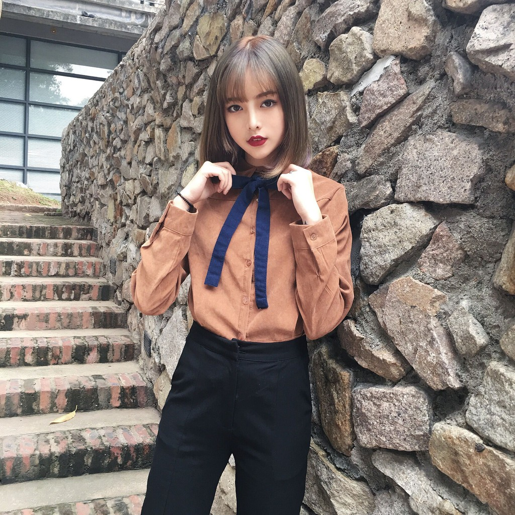 正韓女生衣著絨面復古風簡約 氣質款學院風色調系帶襯衫