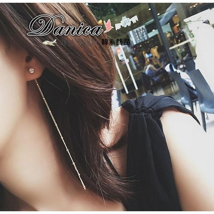 耳環 正韓氣質甜美極簡約百搭四爪單鑽優雅流蘇後掛2 用耳環K90877 1 Danica