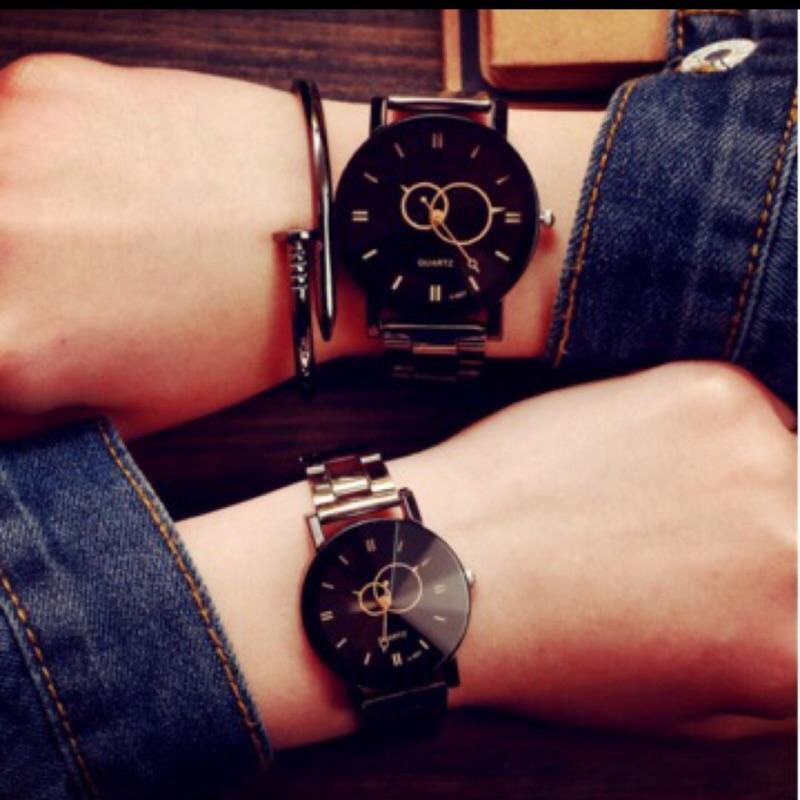 [男人幫] 簡約款原宿鋼製石英錶情侶錶 399