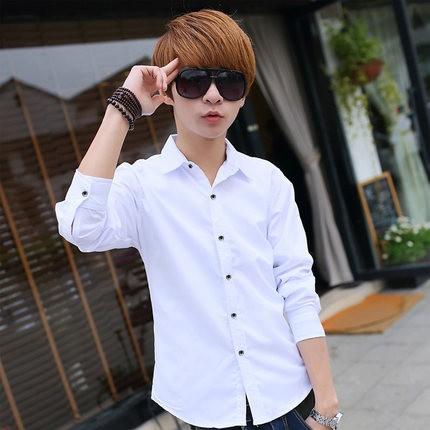 ◤liweike ◥薄款純色長袖襯衫男士襯衫 修身舒適襯衫男士男生衣著長袖T 恤白色青少年
