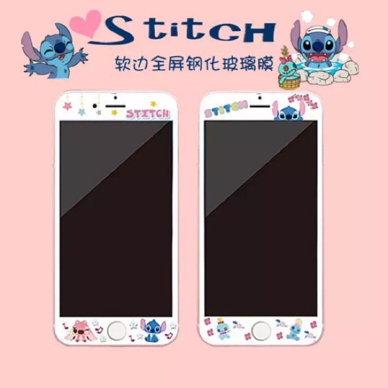 史迪奇IPhone7 7PLUS 6 6S PLUS 不碎邊鋼化玻璃迪士尼保護貼滿版玻璃鋼