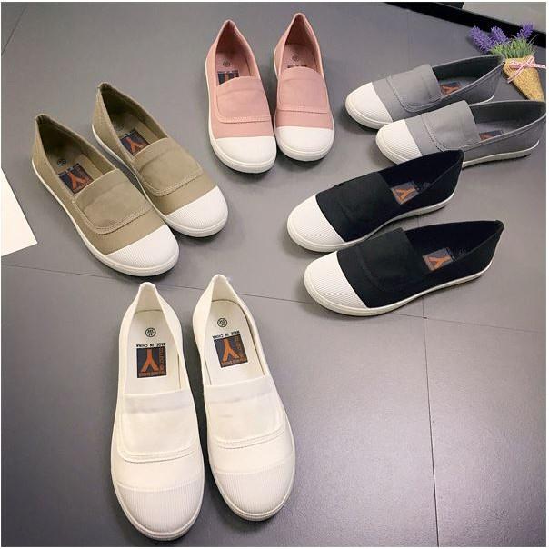 一腳蹬懶人鞋小白鞋帆布鞋白色板鞋平底樂福鞋休閒女鞋