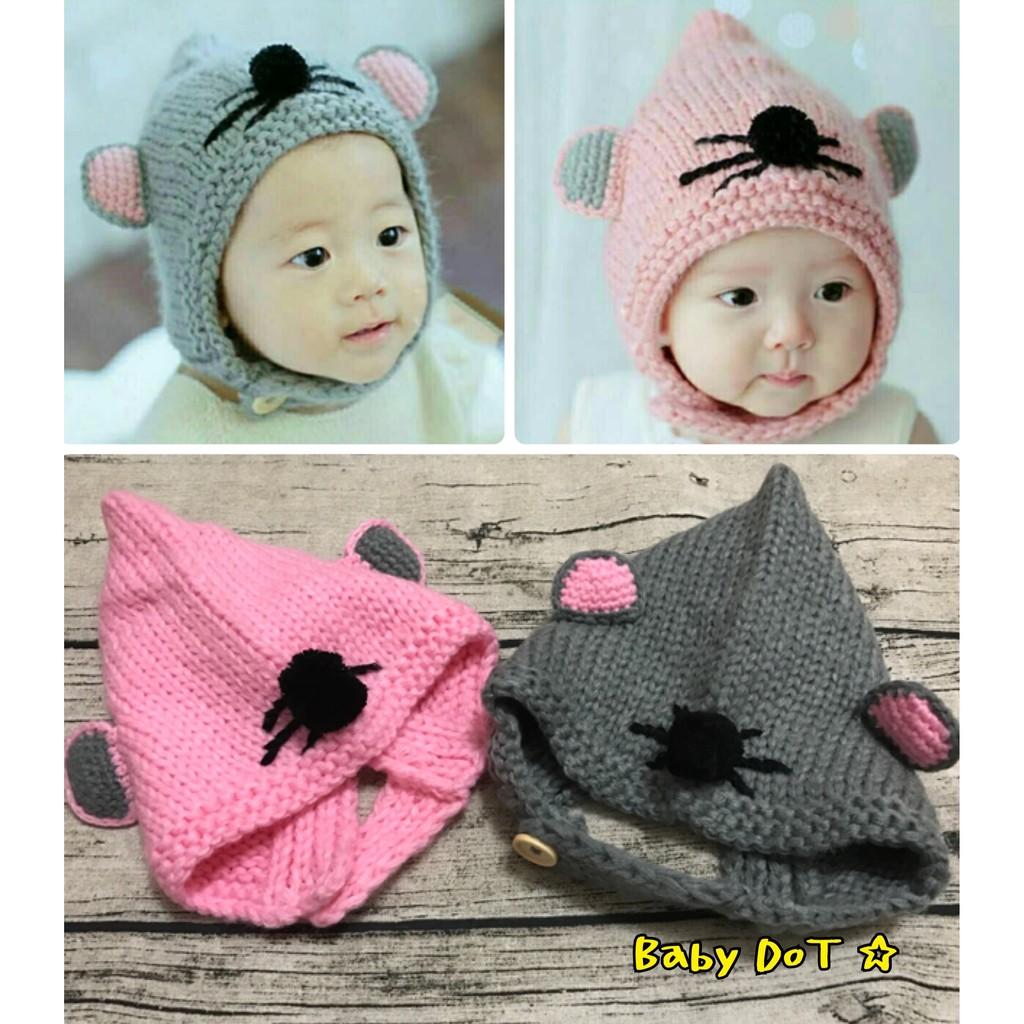 ✨寶寶小童貓咪老鼠帽精靈帽保暖帽鈕扣毛線帽編織帽嬰幼兒精靈帽毛帽熊熊帽