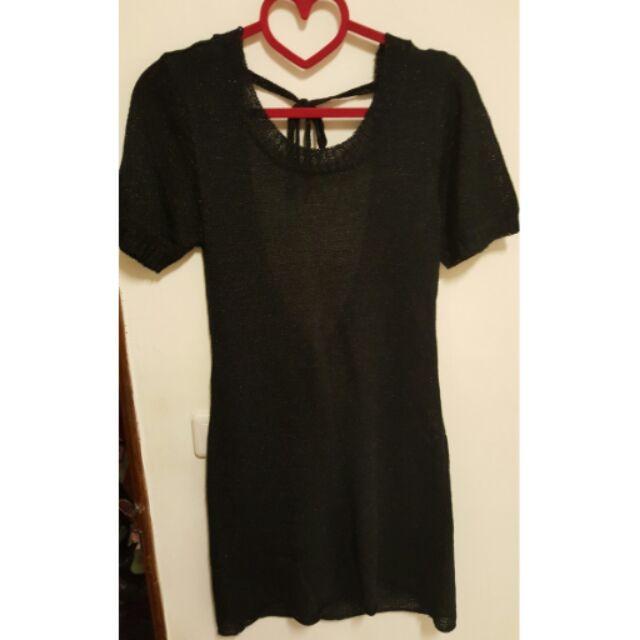 金蔥針織款短袖挖背長上衣洋裝