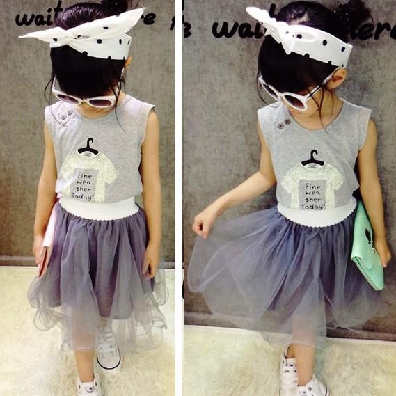 A9127 夏裝女童套裝印衣服背心T 恤衫網紗短裙套裝灰色