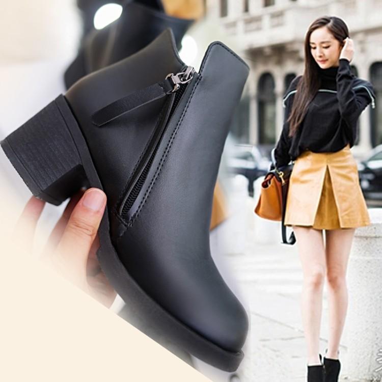 潮流美搭7 短靴女春秋單靴 馬丁靴女英倫風粗跟學生靴子女短筒靴2016