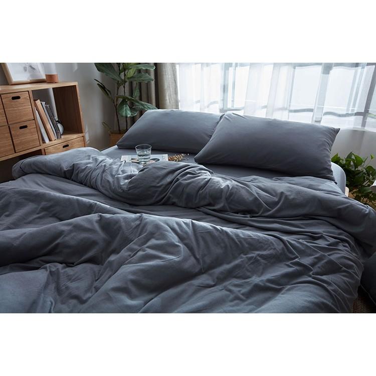 無印風格天竺棉簡約鄉村風格素色深灰色裸睡神器單人雙人雙人加大床組三件組四件組