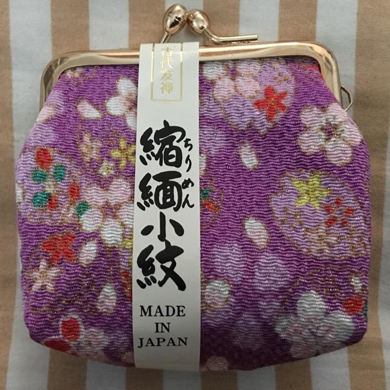 牛奶妹  賣 紫色 製 花布櫻花縮緬小紋壓扣式零錢包