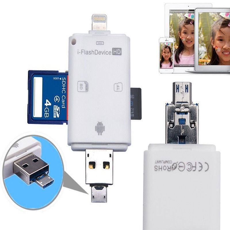 TF 閃存SD Micro USB USB 3 0 蘋果8 針白色3 合1 OTG 讀卡器