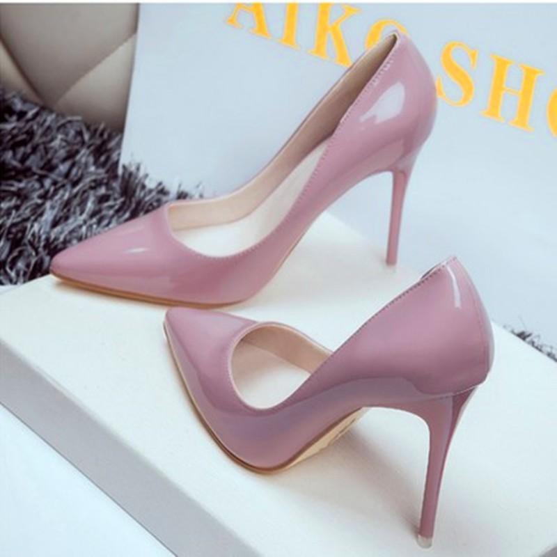 春秋 裸粉色高跟鞋漆皮尖頭高跟單鞋紅色婚鞋細跟性感夜店女鞋