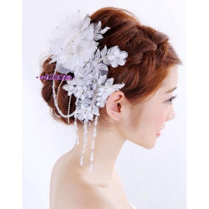 ~~║野玫屋║~~新娘飾品婚紗禮服 攝影舞台配飾韓式水鑽蕾絲花朵流蘇頭花