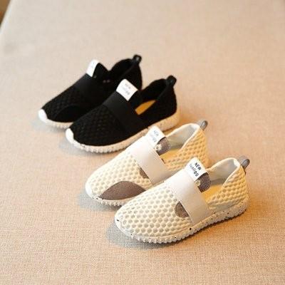 ღ瑪琪朵小舖ღ2017  女童男童黑色白色透氣網面舒適休閒鞋小白鞋童鞋懶人鞋
