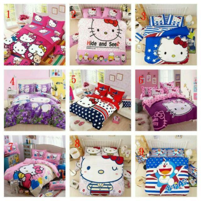 HELLO KITTY 卡通四件套磨毛床上用品床單被套枕頭套棉被套 家俱寢具 棉被枕頭床墊