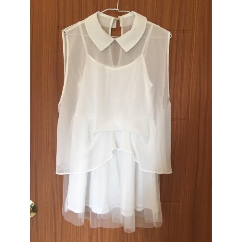 超美snidel 款,白色紗質蕾絲拼接洋裝