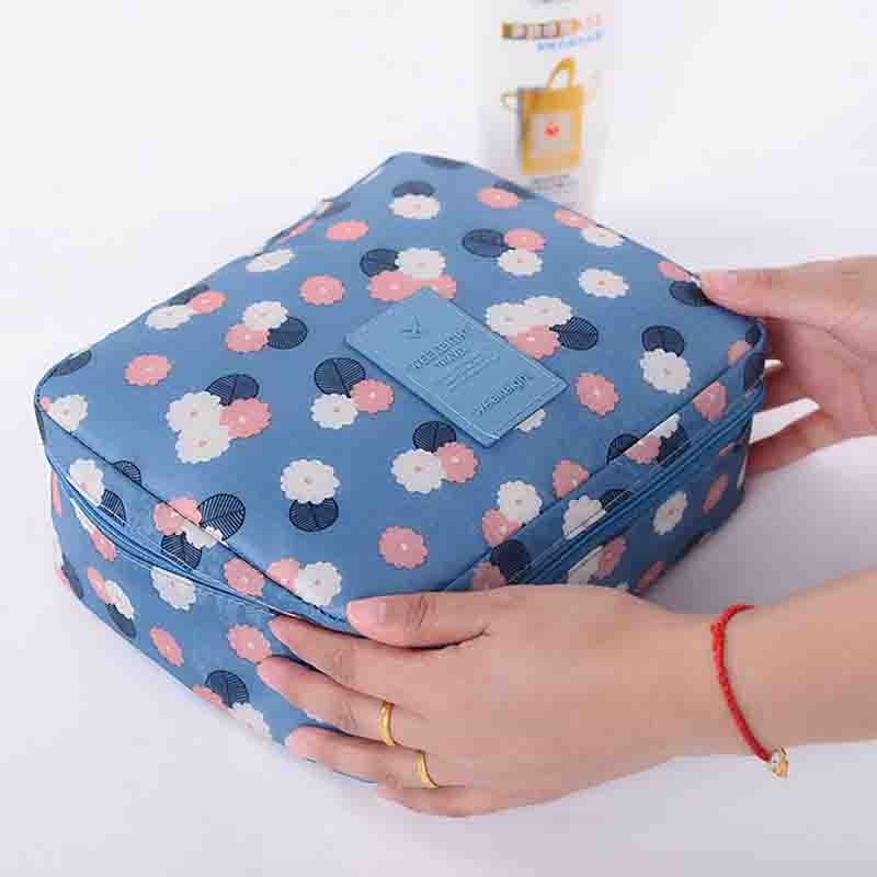 高 韓國便攜旅行洗漱包出差旅遊女士防水花布化妝包