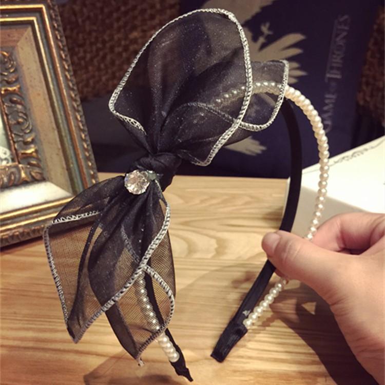 滿499 Sweet 韓風超飾~ 氣質珍珠蕾絲網紗髮箍B16008 韓國髮飾髮圈髮束髮帶香