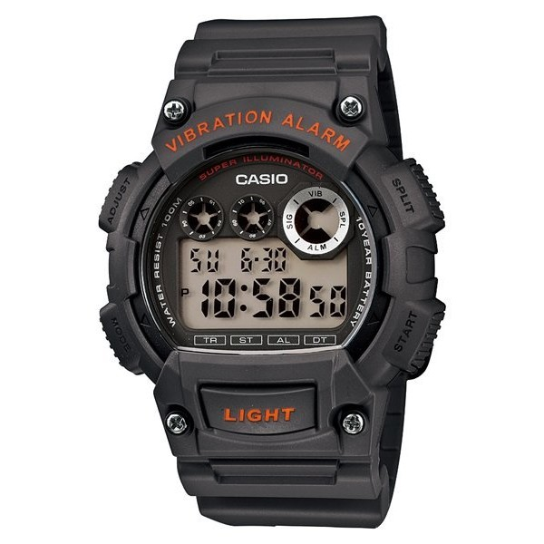CASIO 卡西歐LED 閃光震動提示 電子 錶W 735H 學生錶當兵錶深灰色