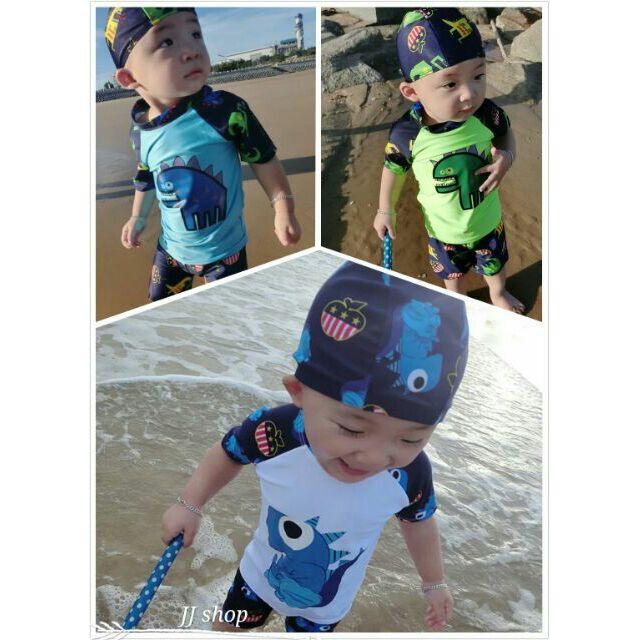 三件式恐龍兒童泳衣男童遊泳衣防曬兒童泳裝泳帽寶寶小孩五分泳褲