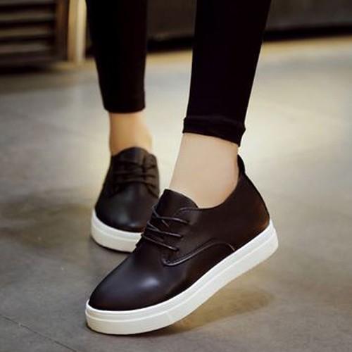 簡約素面繫帶內增高圓頭休閒鞋厚底鞋BNM