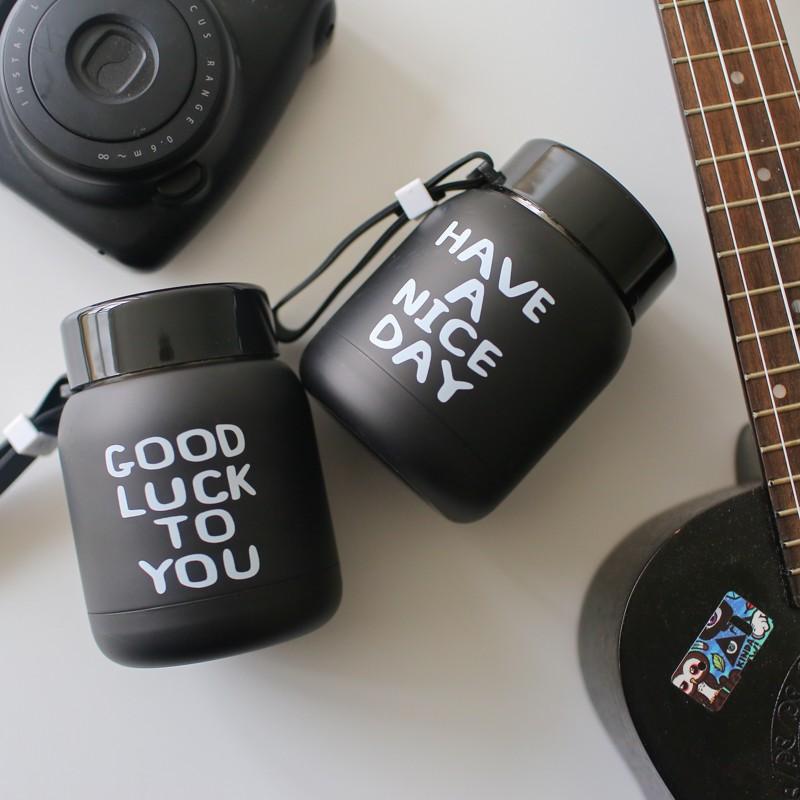 韓國字母迷你保溫杯帶提繩可愛男女學生便攜隨身杯情侶水壺水杯子