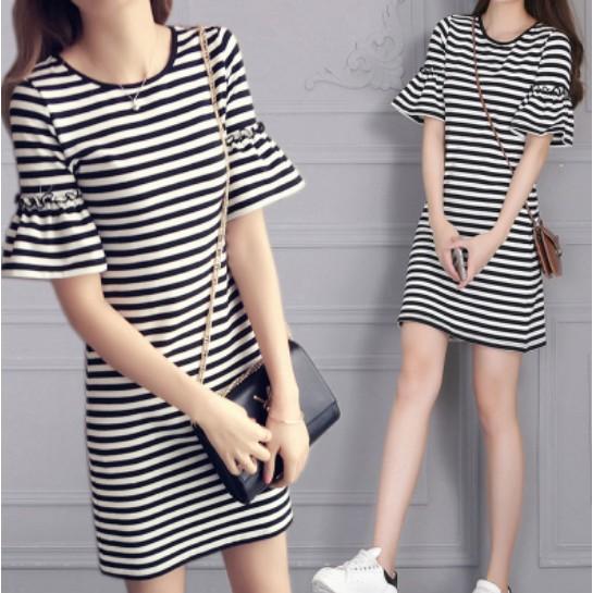 條紋喇叭袖洋裝睡衣裙G010