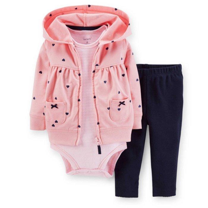美國正品~卡特Carter s ~長袖外套、短袖包屁衣、長褲套裝3 件組粉色愛心款 拆賣