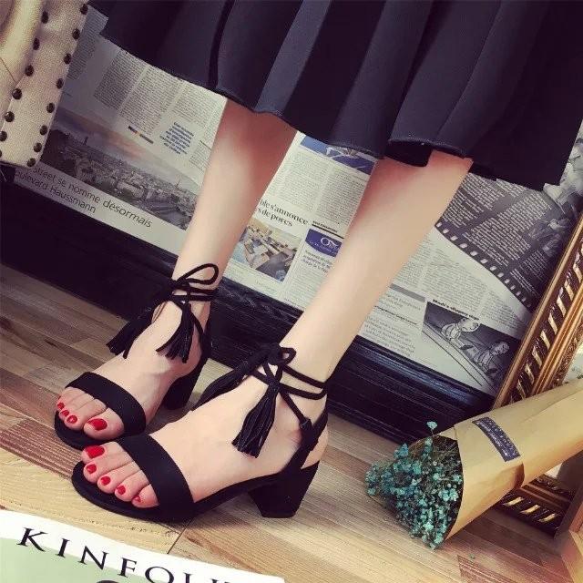 簡約流蘇交叉綁帶高跟鞋粗跟魚嘴女鞋羅馬鞋繫帶高跟女鞋黑裸