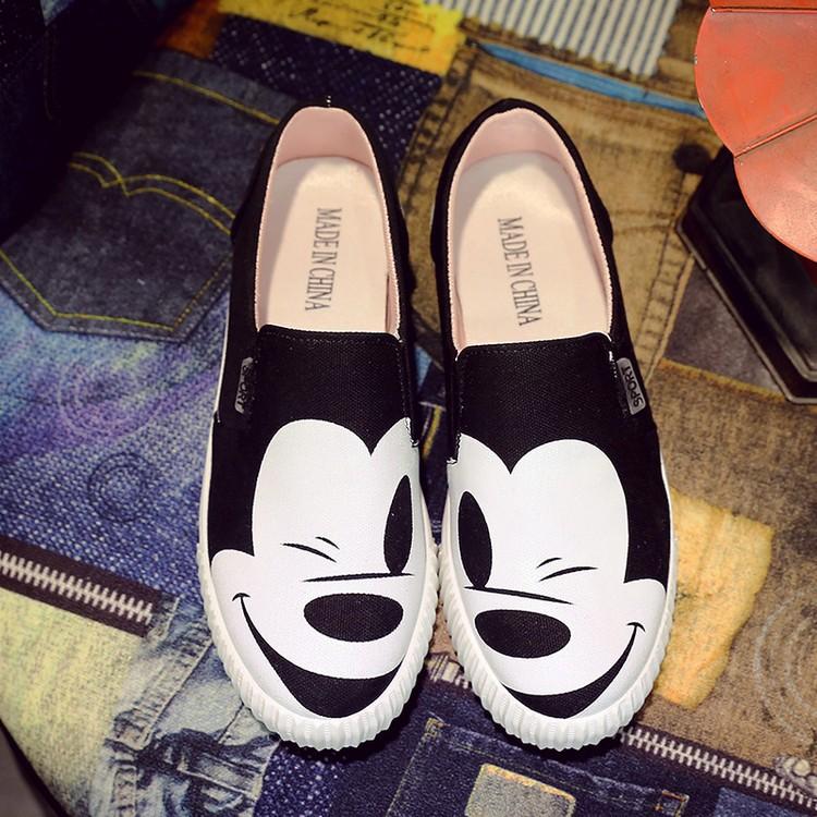 韓國2016  平底卡通一腳蹬帆布鞋女休閒百搭單鞋學生懶人鞋