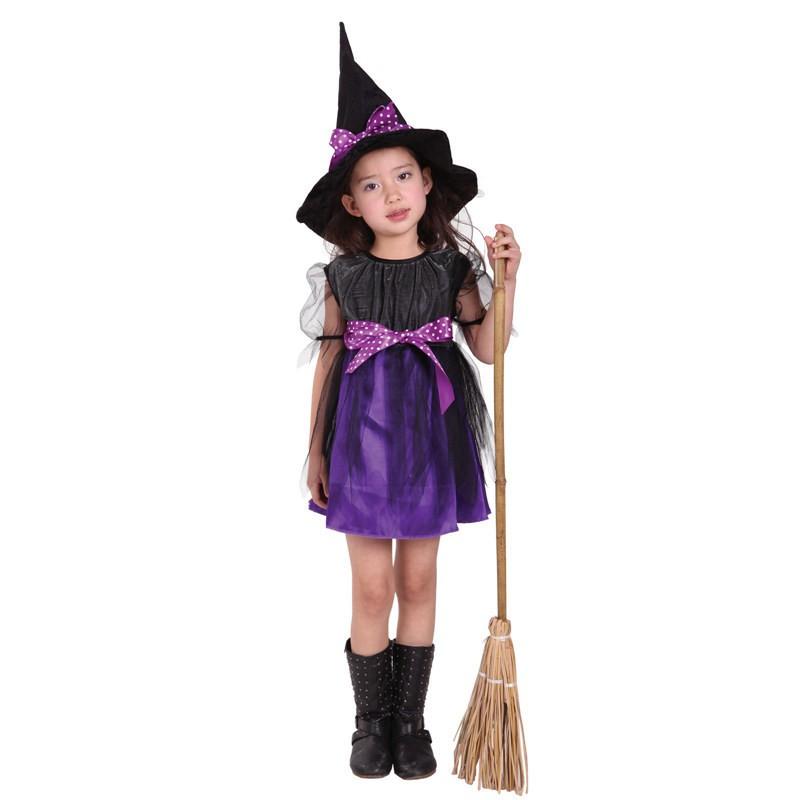 萬聖節cosplay 服裝兒童女飛天女巫俏麗網紗巫婆魔法巫師服裝