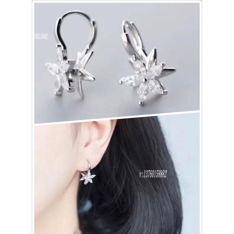 香港正生銀飾S925 純銀小清新鑲鑽花朵耳扣甜美耳環耳針