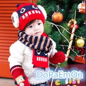 兒童毛帽機器人帽寶寶帽圍脖套裝帽