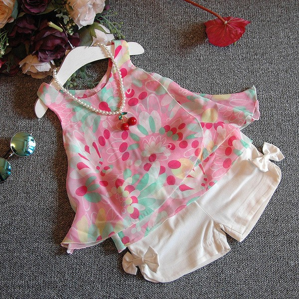 夏 女童寶寶花朵雪紡吊帶衫蝴蝶結短褲套裝