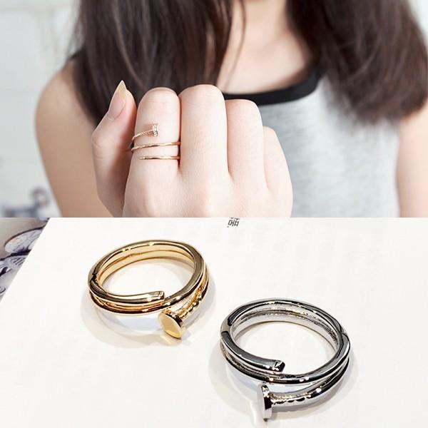 日韓國大牌螺絲釘子女戒指簡約指環潮人 夸張食指關節尾戒飾品