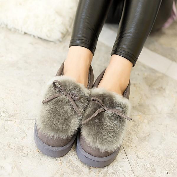 保暖加厚加絨豆豆鞋女 平底毛毛絨懶人鞋學生 棉鞋雪地靴