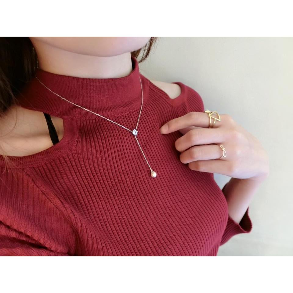 法式女伶優雅Y 字鎖骨鍊方鑽珍珠項鍊氣質甜美短鍊