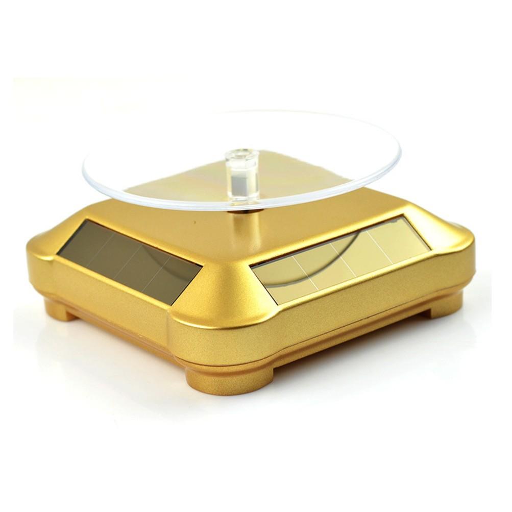 可裝電池太陽能旋轉台直播 雙用太陽能轉盤展示台珠寶首飾眼鏡茶具茶壺手機手錶飾品架