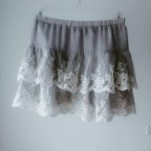 布蕾絲雪紡短裙襯裙