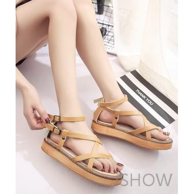 ISHOW ☞ 羅馬平底涼鞋 夾趾交叉綁帶繞踝復古涼鞋