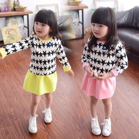 韓國2016 女童春款新品兒童洋氣氣質衛衣短裙寶寶 套裝秋