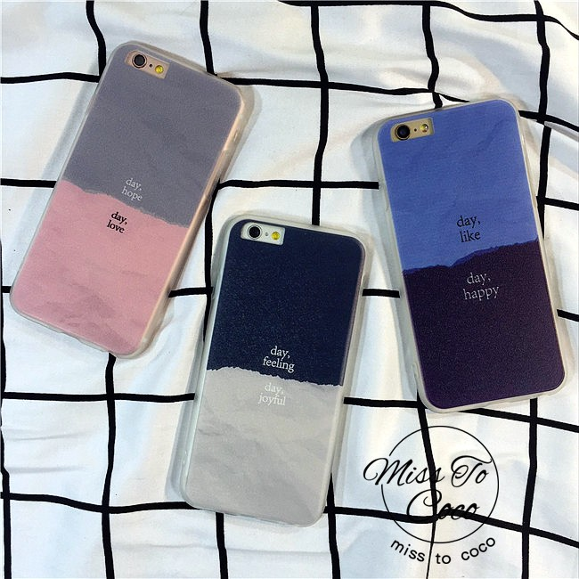 韓國day 每天好心情iPhone 拼色撞色手機殼情侶款C112