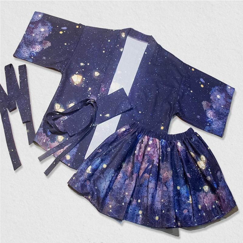 不撞衫超美夢幻星空VS 繡球花印花日式改良浴衣和服罩衫外套cosplay