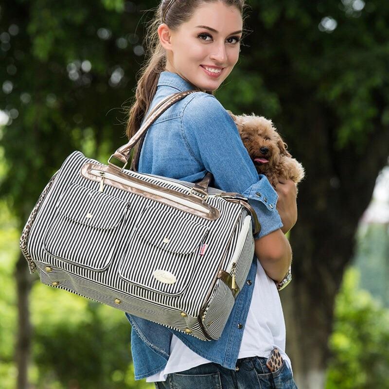寵物包寵物袋條紋便攜式外出寵物狗包貓用便攜包