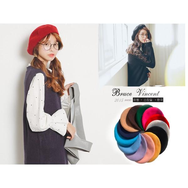BV 布魯斯P39 韓國 氣質文青羊毛畫家帽貝雷帽26 色